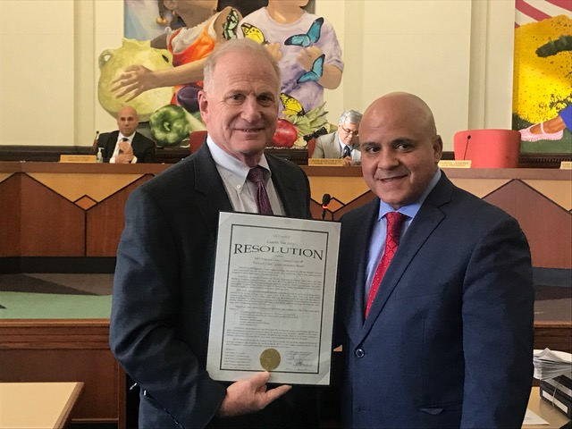 Steven R. Peikin, MD, FACG, AGAF, Head, Division of Gastroenterology and Liver Diseases, at Cooper University Health Care attended the Camden City Council meeting on March 22, 2017, where he was presented a proclamation from the Camden City Council President Frank Moran declaring March as Colorectal Cancer Month in Camden.