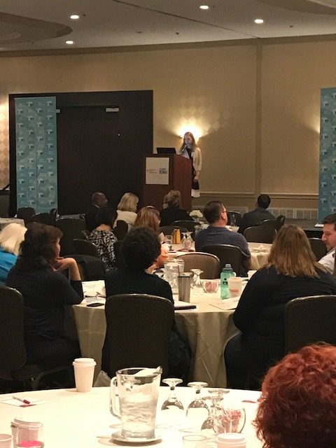 Polina Khrizman, MD, addresses audience on the topic of Lung Cancer Lung Cancer Screening at the Lung Force Expo.