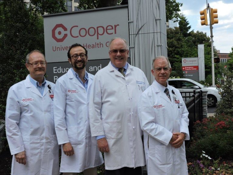 Members of the research team at Cooper (l to r): Igor Kuzin, MD, PhD, research scientist; Zeus Antonello, PhD, research scientist; Richard D. Lackman, MD, director, Orthopaedic Oncology, MD Anderson Cancer Center at Cooper; and Spencer Brown, PhD, research director, Surgery Department.