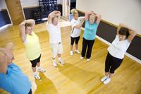 fun senior gym stretching