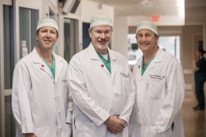 Cardiac surgeons Frank W. Bowen, III, MD; Michael Rosenbloom, MD; and Richard Highbloom, MD.