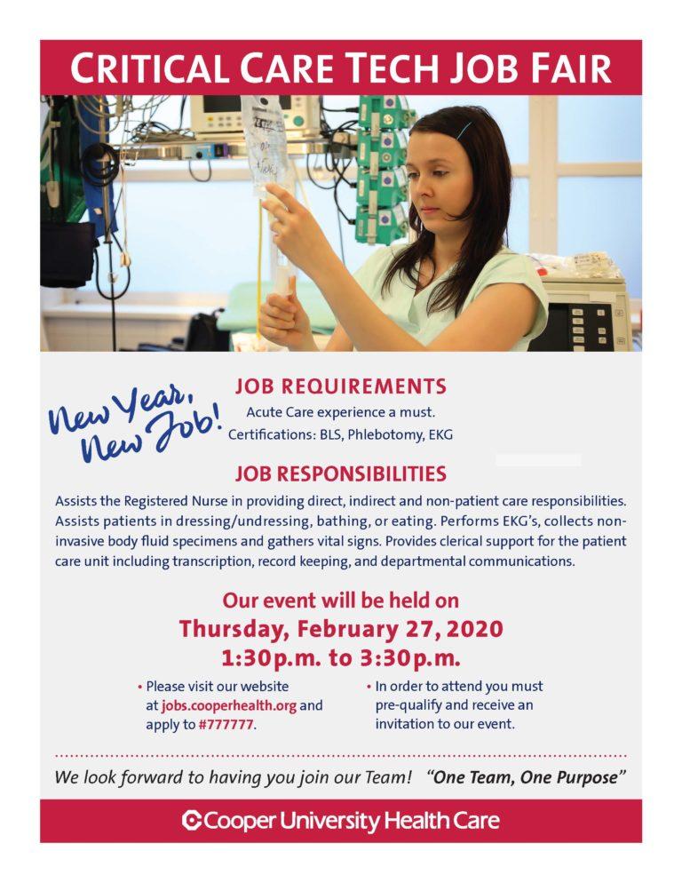 Critical Care Tech Job Fair flyer