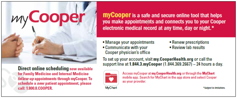 , Direct, Online Scheduling Now Available for Family Medicine and Internal Medicine Follow-Up Appointments Through myCooper