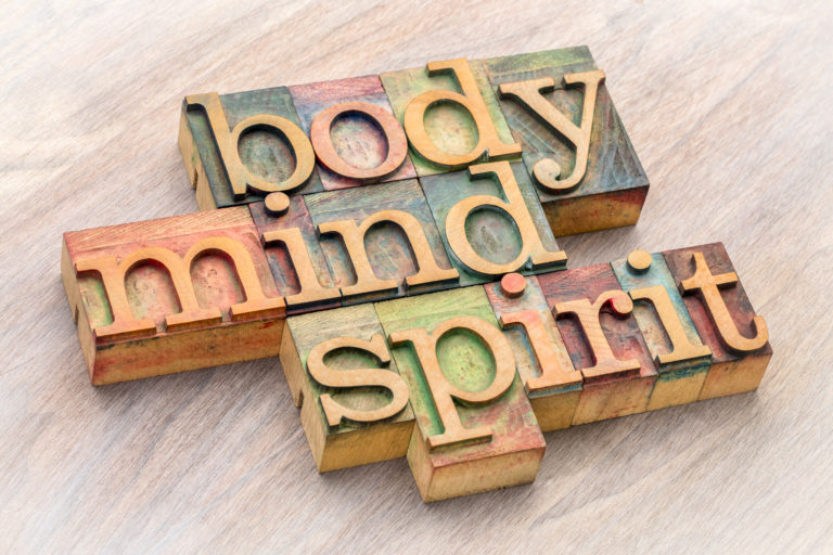 body, mind and spirit word abstract in wood type