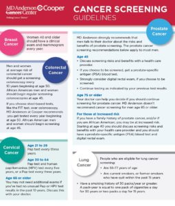 MD Anderson Cancer Center at Cooper Cancer Screening Guidelines