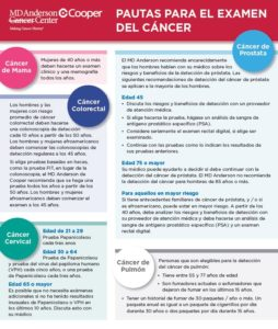 MDACCAC Cancer Screening Guidelines Espanol 8-6-20