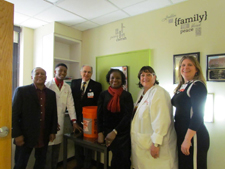 Pictured (l to r): Melvin Sheppard Sr.; Melvin Sheppard; Gary E. Stahl, MD, Head, Division of Neonatology; Denise Sheppard; Joanne Fox, RN, Clinical Director of the NICU; and Robyn Harvey, Executive Director, Women and Children's Services.