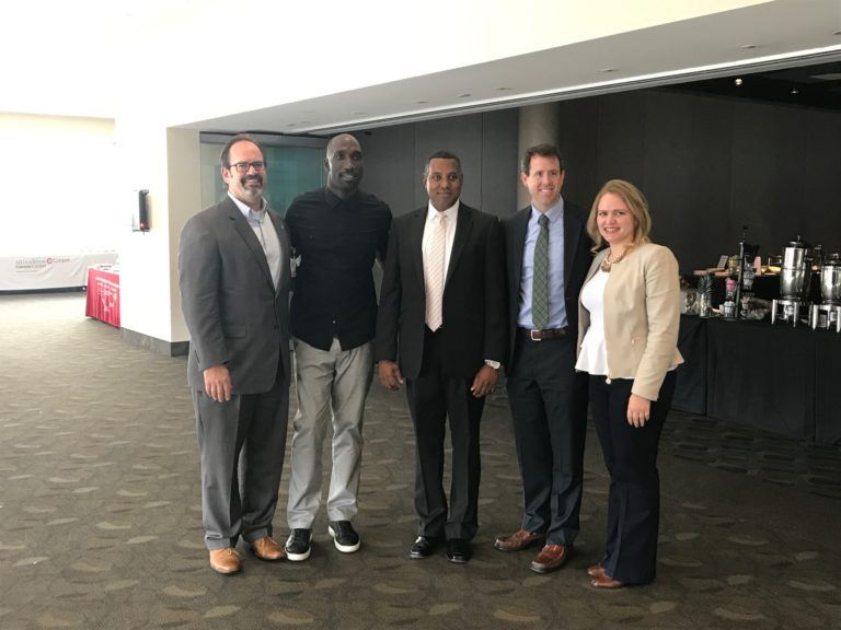 Robert Somer, MD, Medical Oncologist, Ike Reese, SportsRadio 94WIP host, Duane Monteith, MD, Thoracic Surgeon, Michael Kwaitt, MD, Colorectal Surgeon, and Ryna Then, MD, Neurologist.