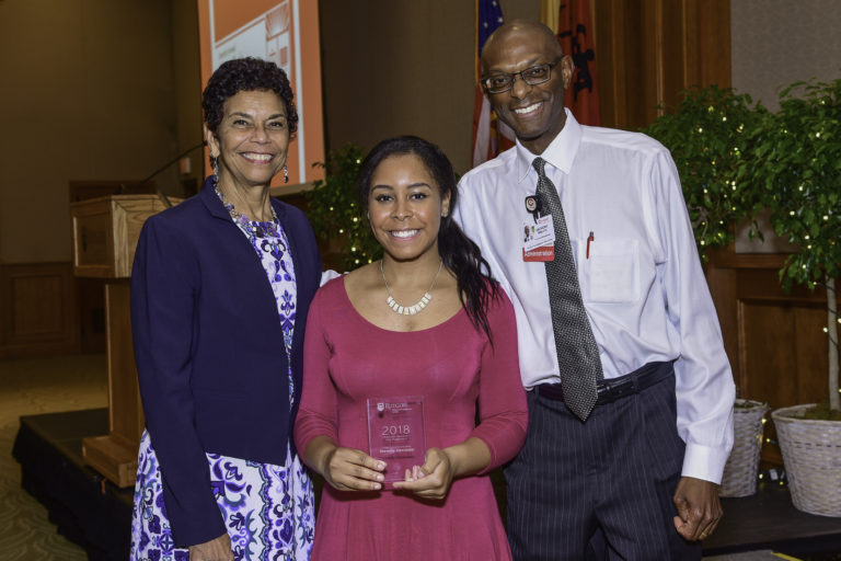 Rutgers University–Camden Chancellor Phoebe Haddon, award winner Shenelle Alexander, and Anthony Welch, Cooper University Health Care's vice president of government and community relations Photo credit: Erik J. Marshall