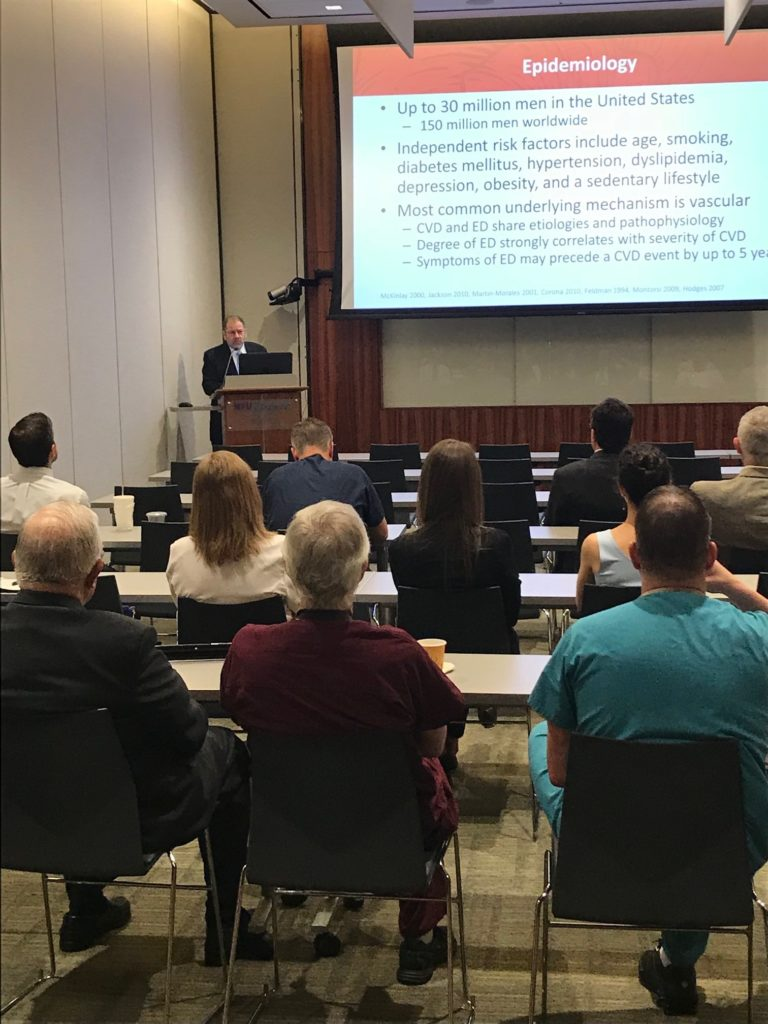 Cooper Urologist Dr. Allen Seftel presenting an Update on Sexual Dysfunction during Grand Rounds at NYU Winthrop Hospital on July 10, 2018.