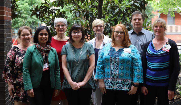 Dr. Jaya Ganesh, Anne Starr, Sandy Corut, Chris Rickette,  Second row: Amanda Log, Dr. Caroline Eggerding, Trish Niblack, Dr. Michael Colis