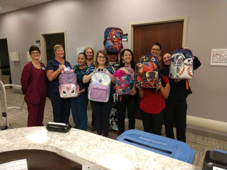 Many thanks to the #CooperTeam at our Cooper Surgical Group at Sicklerville for filling up these backpacks! Photo Credit: Leslie Harrop, Cooper Surgical Group at Sicklerville.