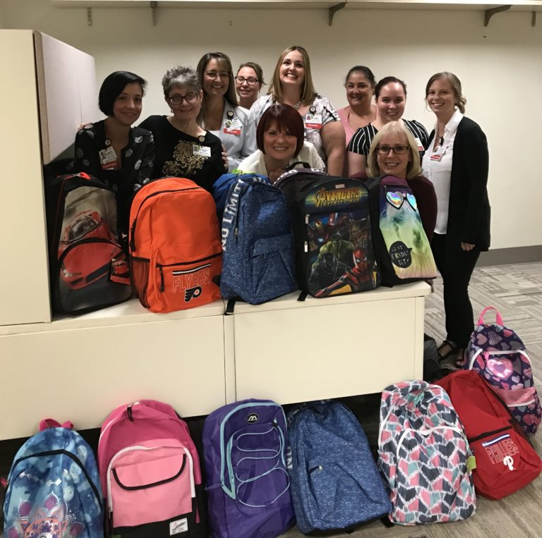 Another great #CooperTeam photo for #OperationBackpack! Pictured here are representatives from the Cooper Surgical Services Institute: Aimee Gribbon, Danielle Crousillat, Tracey Baez, Sharon Christopher, Mia Veteri, Maria Figueroa, Kate Fitzgerald, Debbie Combs, Miranda Cornaglia, and Christine Chrupcala. Not pictured are Linda Cooper and Cathi Cooney. Photo Credit: Aimee Gribbon, Surgical Services Institute at Sheridan Pavilion.