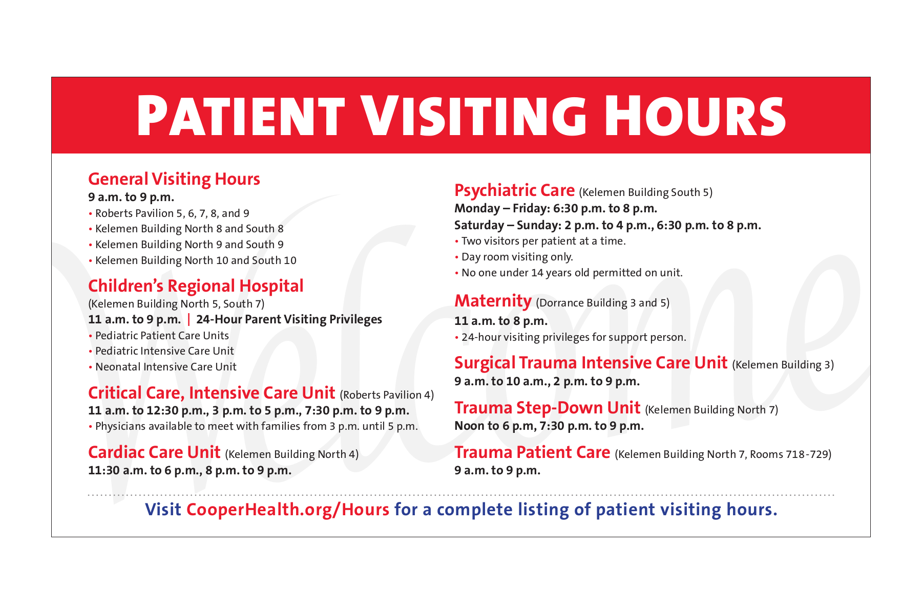 , Update to Cooper Visiting Hours Policy