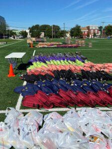 field full of backpacks