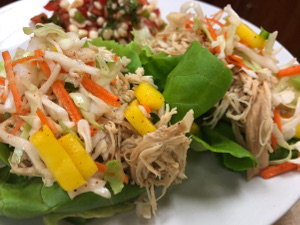 East Carolina BBQ Shredded Chicken in Butter Lettuce Cups with a Jalapeno, Mango, and Lime slaw